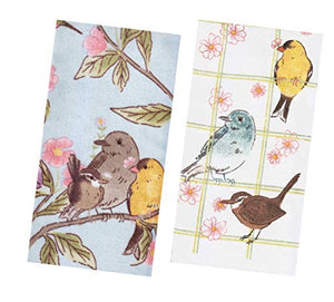 Kitchen Towels Set with Spring Birds, Songbirds, Hummingbirds