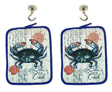 Load image into Gallery viewer, Blue Crab Kitchen Pot Holders and Magnetic Hanging Hooks