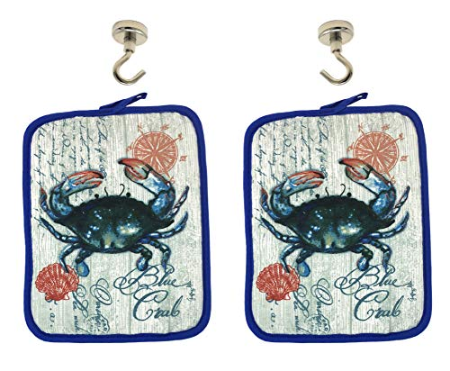 Blue Crab Kitchen Pot Holders and Magnetic Hanging Hooks