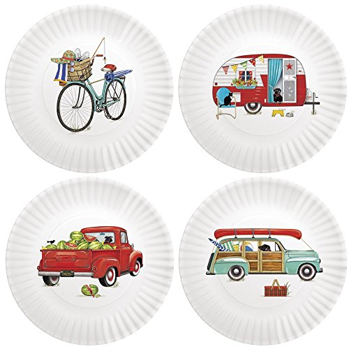Summer Camping 9-inch Melamine Plates, Set of 4
