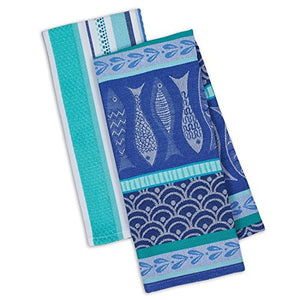 Santorini Fish Print Kitchen Dish Towel Set
