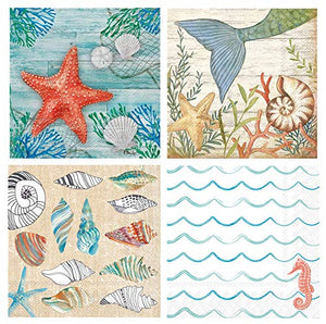 Cocktail Napkins, Set of 4, Starfish, Beach, Mermaid and Shell