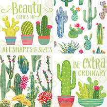Load image into Gallery viewer, Cocktail Napkins, set of 4 Cactus and Succulent Themes