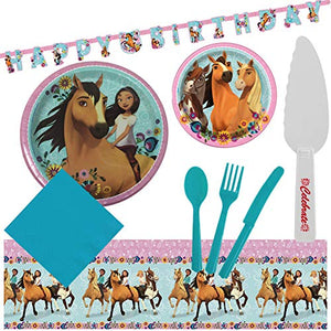 Spirit Riding Free Horse Birthday Party Supplies for 16 Guests - Plates, Tablecover, Banner, Cutlery, Napkins Plus Cake Cutter
