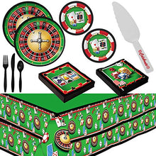 Load image into Gallery viewer, Casino Night Theme Party Supplies for 16 Guests - Plates, Tablecovers, Cutlery, Napkins Plus Cake Cutter