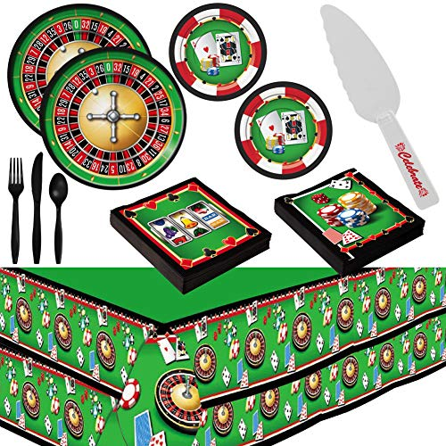 Casino Night Theme Party Supplies for 16 Guests - Plates, Tablecovers, Cutlery, Napkins Plus Cake Cutter