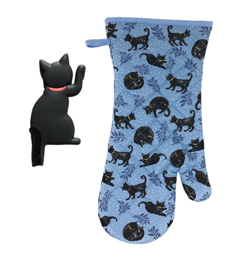 Cat Kitchen Gifts - Oven Mitt with Black Cat Shaped Magnetic Hook - 2 Piece Set