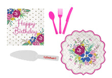 Load image into Gallery viewer, Pioneer Woman Birthday Party Supplies for 12 Guests - Plates, Cutlery, Napkins, Cake Cutter