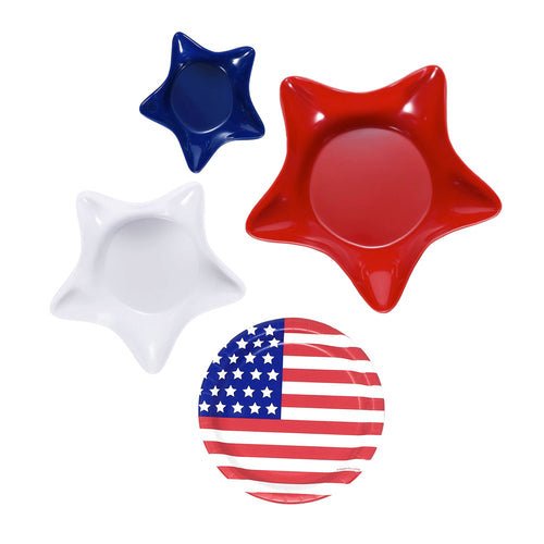 Patriotic Star-Shaped Plastic Bowl Serving Set with American Flag Party Plates