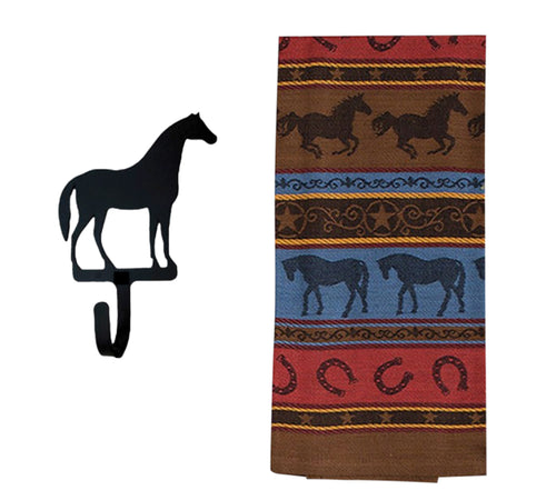 Horse Kitchen Gifts - Western Dish Towel with Horse Shaped Magnetic Hook -2 Piece Se