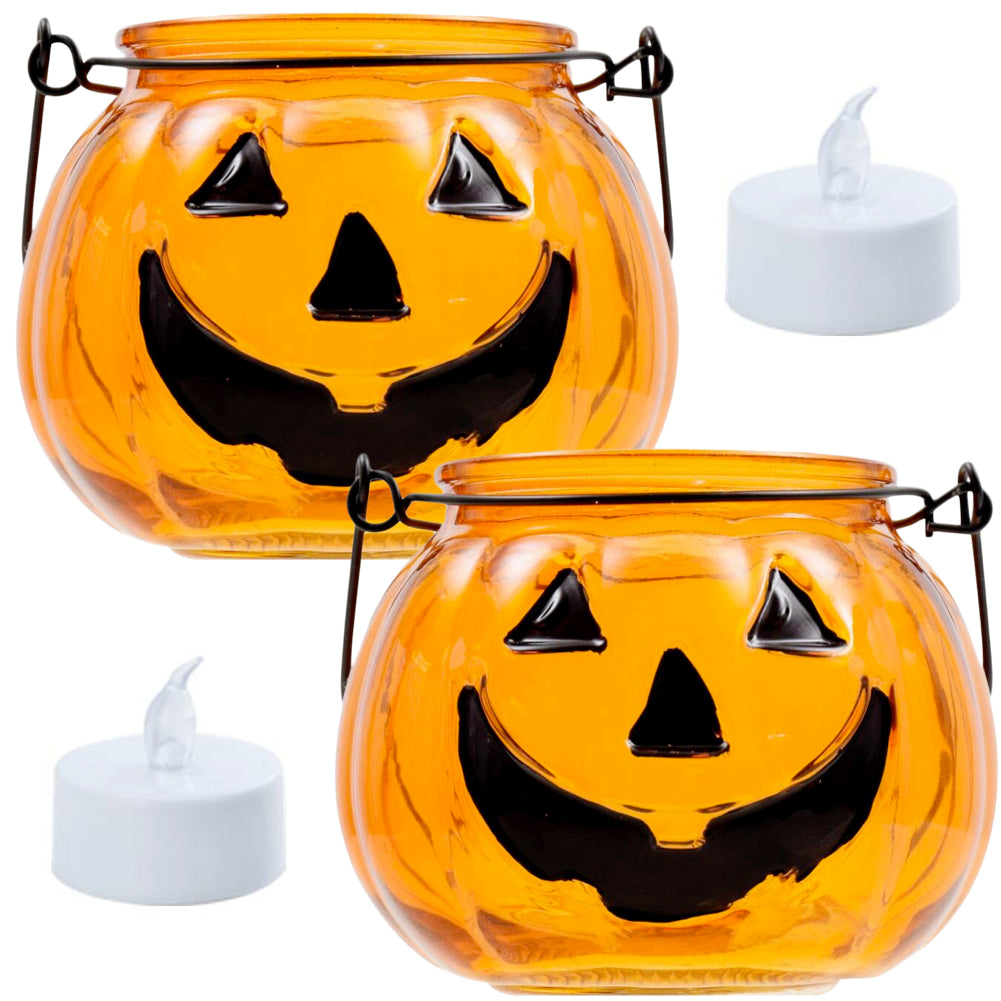 Halloween Pumpkin Tealight Candle Holders-Set of 2 Glass Pumpkins with 2 Flameless LED Candles-4 piece set
