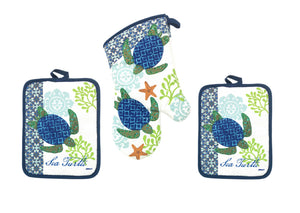 Sea Turtle Potholders and Oven Mitt