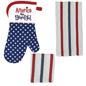 Patriotic American Flag Kitchen Decor-Oven Mitt Towel Dishcloth