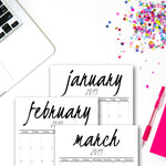 2019 Printable Calendar | Black & Grey