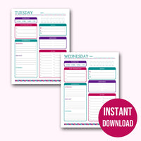 Printable Daily Planner Pages | 7 Day Weekly Planner