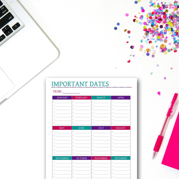Important Dates Printable