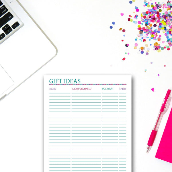 Printable Gift Ideas List
