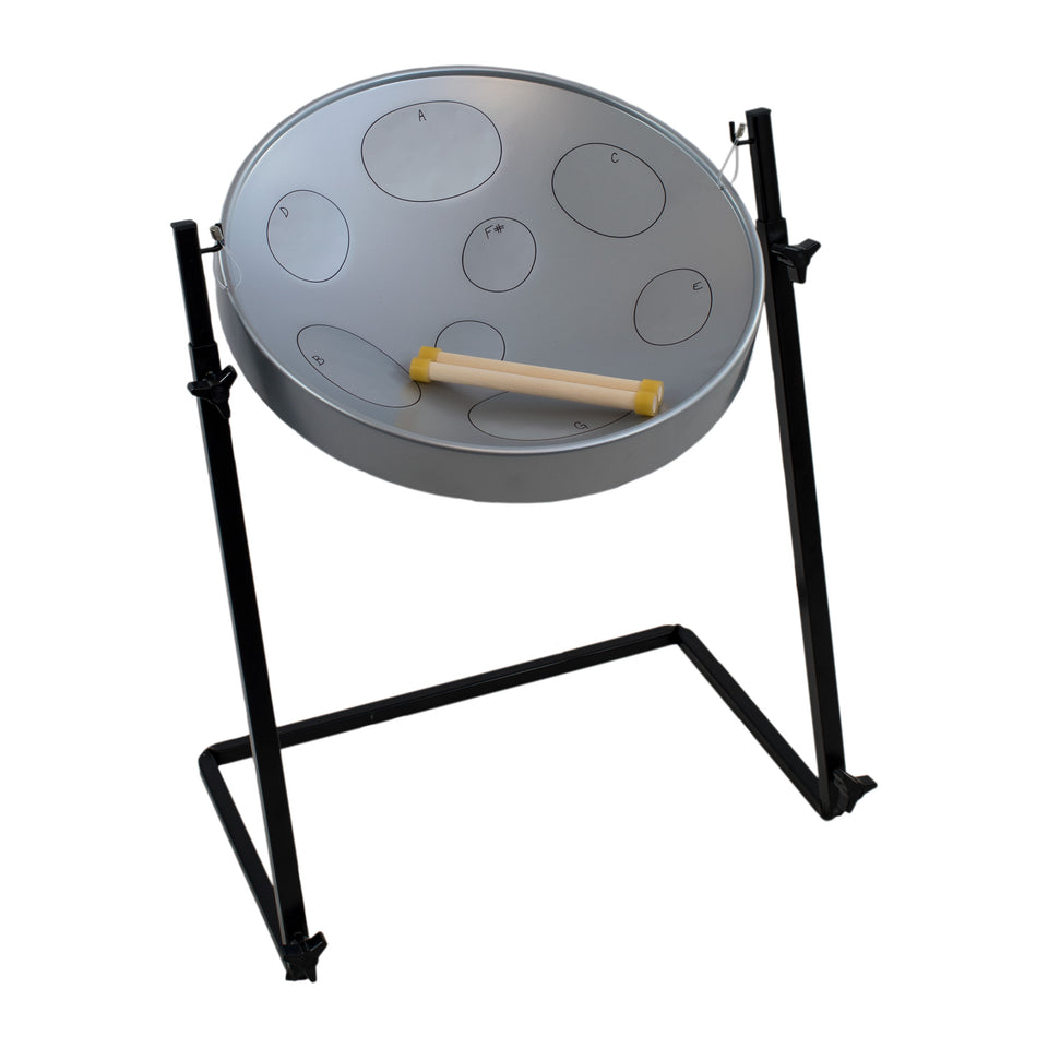 Jumbie Jam steel pan with metal Z stand - grey pan