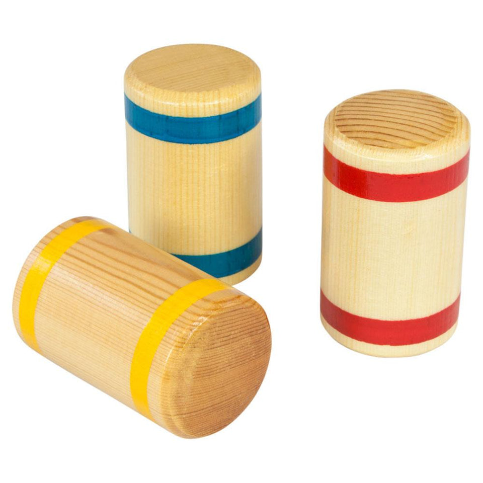 Small wooden shaker with blue, yellow or red stripes
