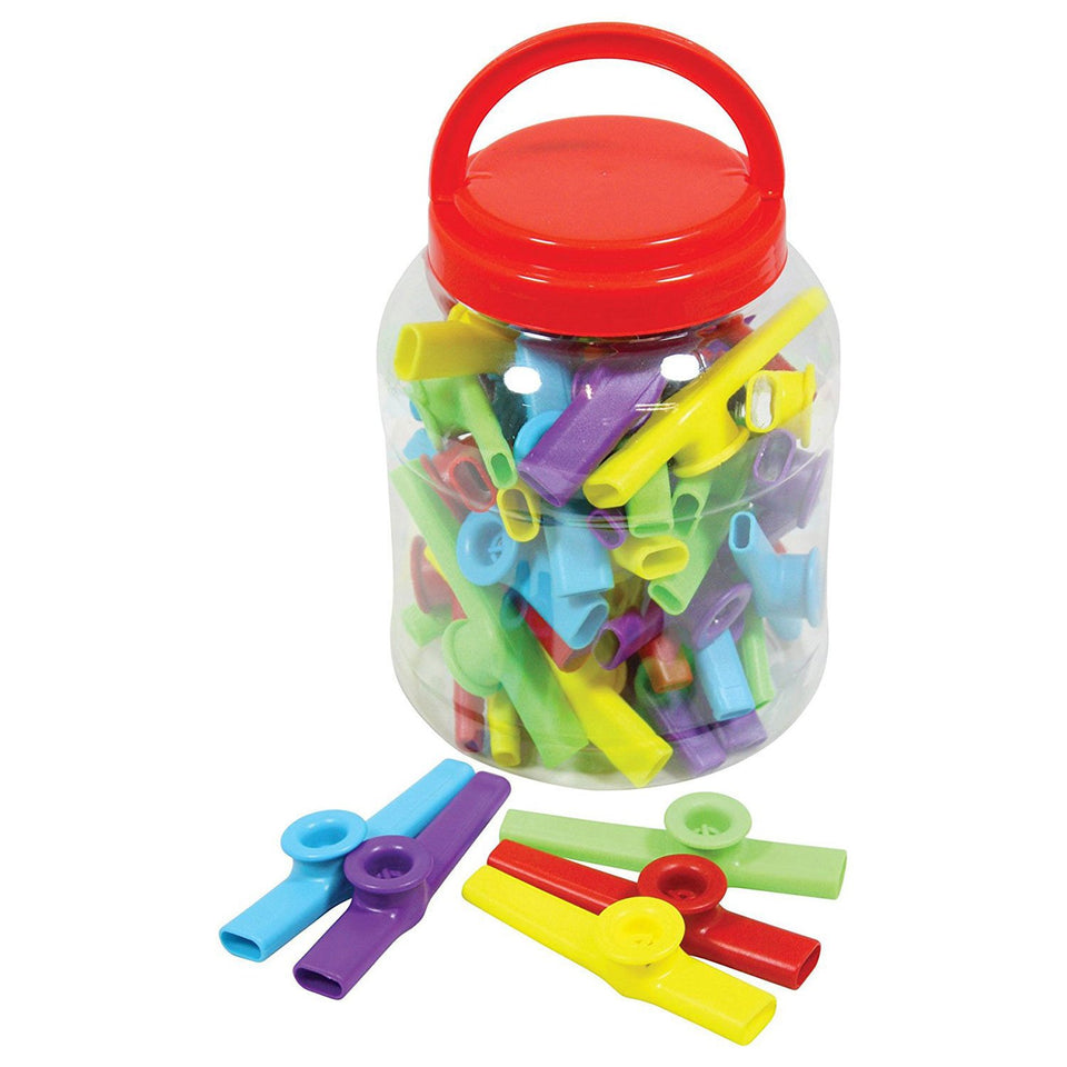 Tub of 30 colourful plastic kazoos