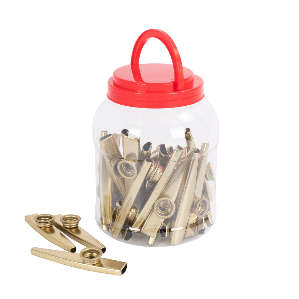 Tub of 30 metal kazoos