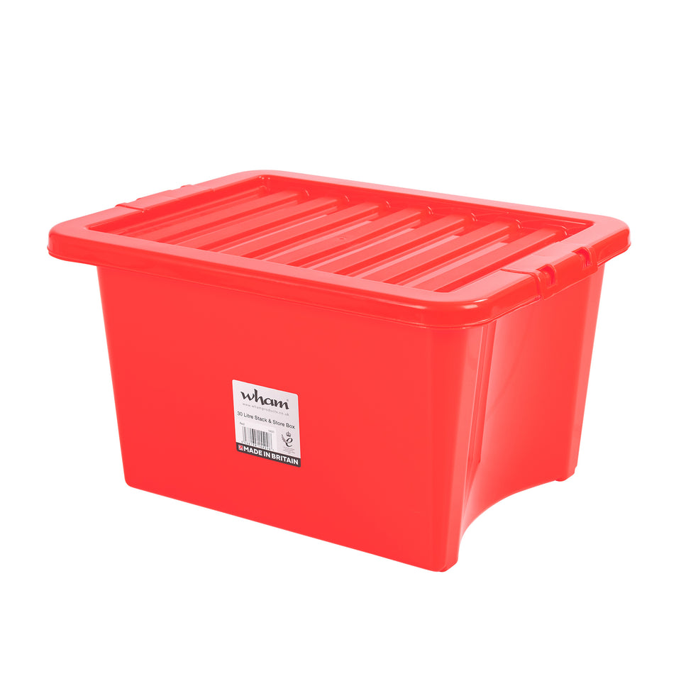Plastic storage box with lid - 32 litres - 1 box