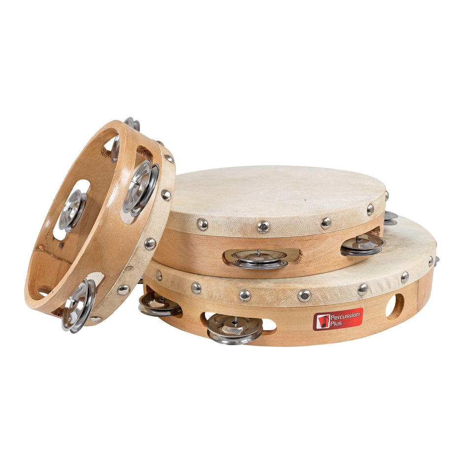 Wood shell tambourines 3 pack