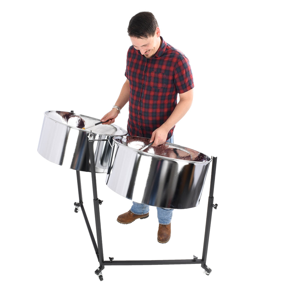 Percussion Plus Import Series double second steel pans, chrome finish