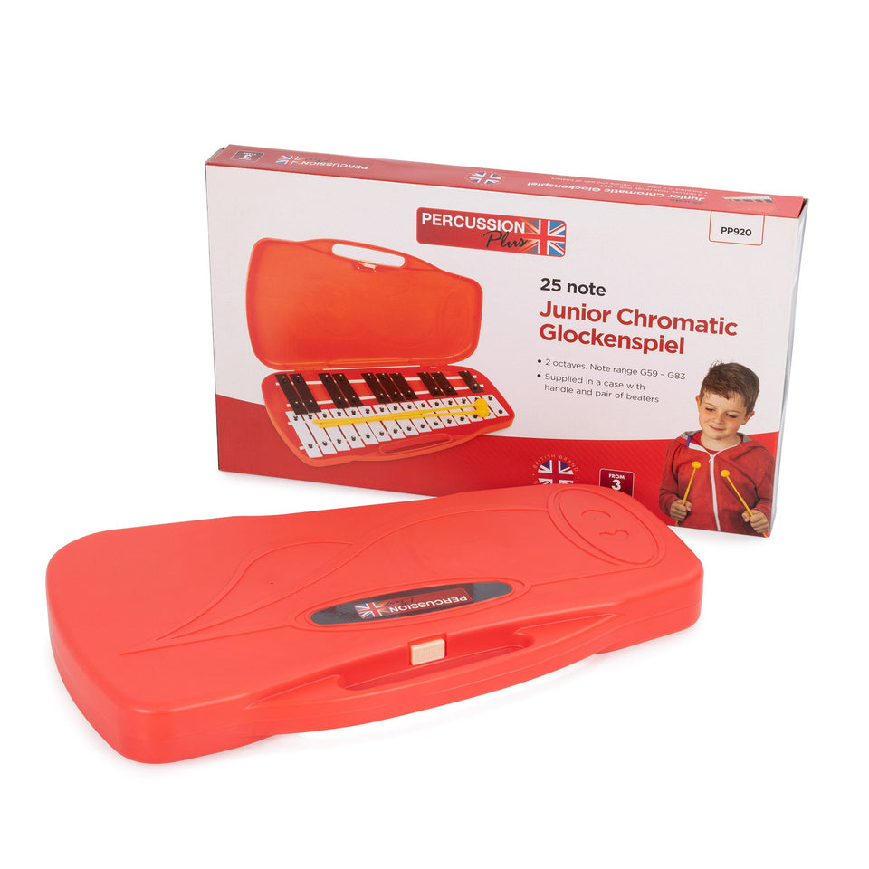 Percussion Plus 25 note chromatic junior glockenspiel, case & beaters