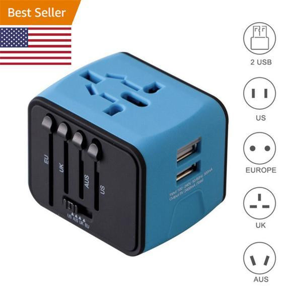 Universal Travel Adapter - Features Universal Socket with 2 USB Ports - Lightweight & Portable - Perfect for All Smart Devices