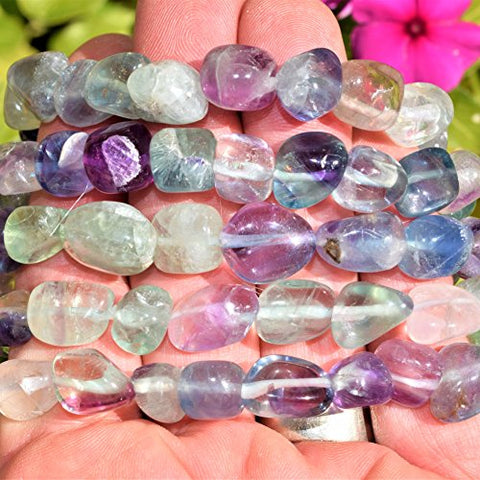 CHARGED Rainbow Fluorite Crystal Bracelet Tumble Polished Stretchy (Increase Clarity & Focus, Remove Energy Blocks & Cleanse Your Aura) HEALING ENERGY REIKI by ZENERGY GEMS