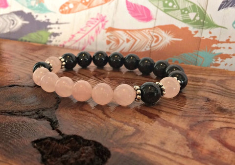 Black Tourmaline &  Pink Crystal  Bracelet, Wrist Mala Beads, Unconditional Love + Protection + Emotional Wellness
