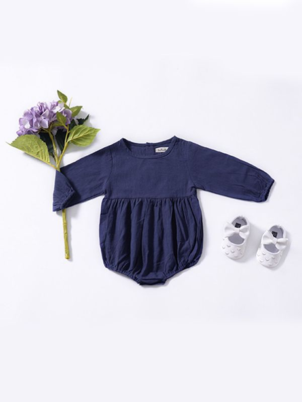 Sweet Navy Long Sleeve Romper