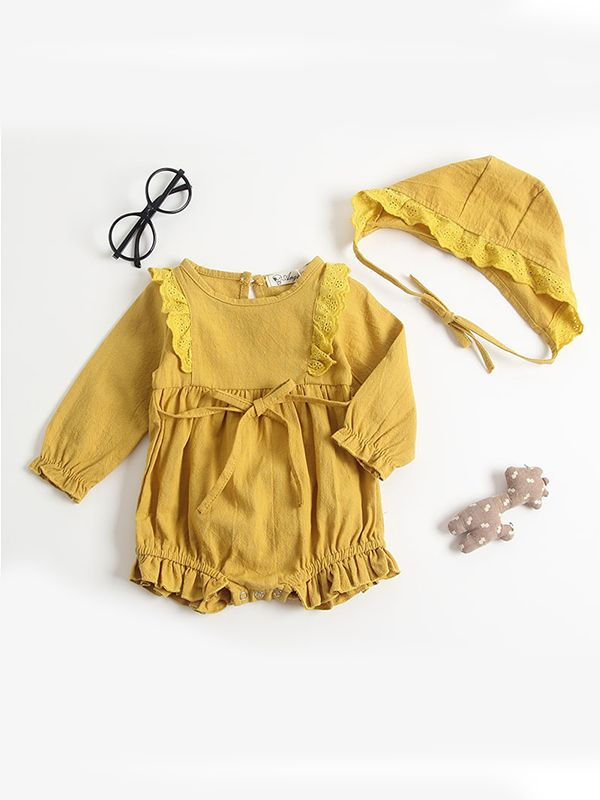 Fall For You Yellow Romper & Bonnet
