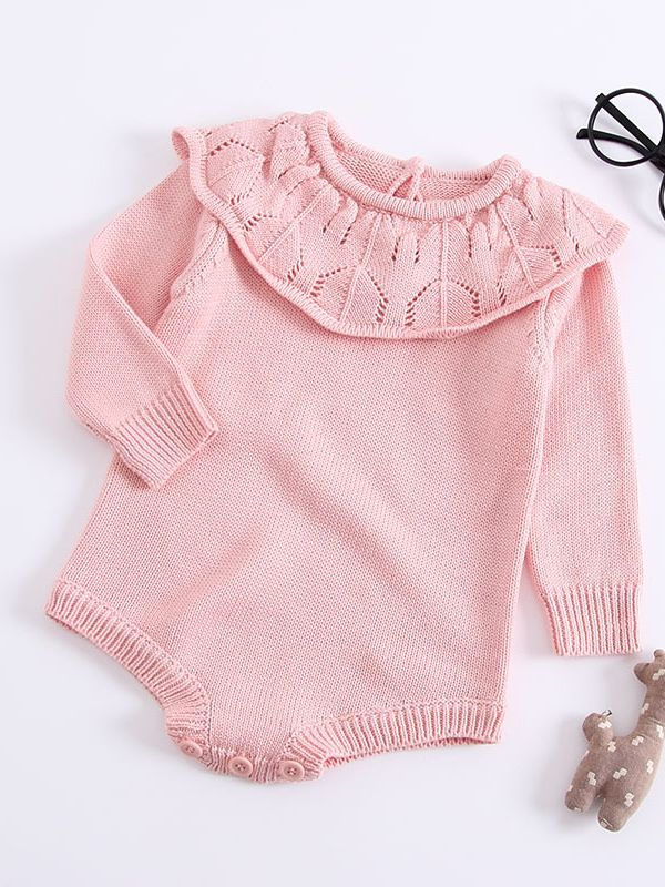 Pink Ruffle Collard Sweater Onesie