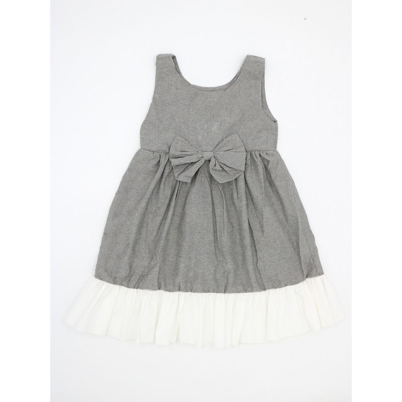 Grey & White Bow Dress