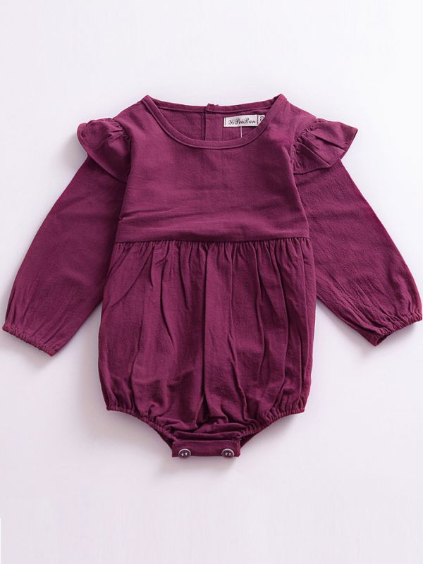 Be Bold Long Sleeve Romper Plum