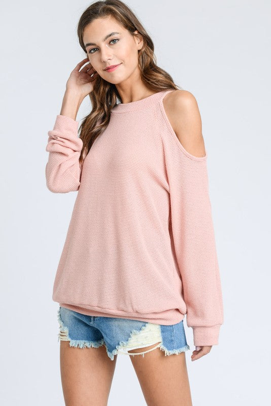 The Perfect Open Shoulder Sweater Rose