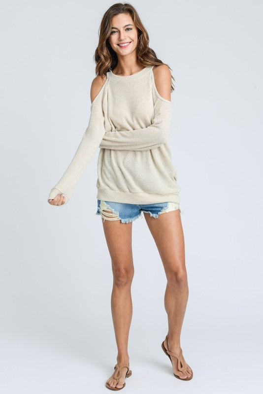 The Perfect Open Shoulder Sweater Oatmeal