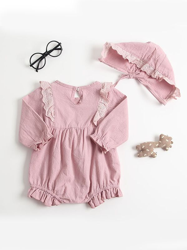 Fall For You Pink Romper & Bonnet