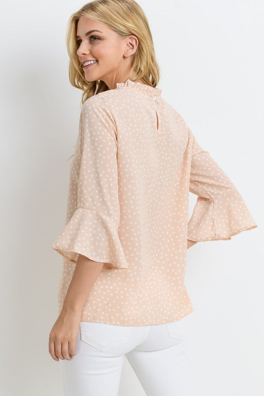 Blush polka-dot vintage top