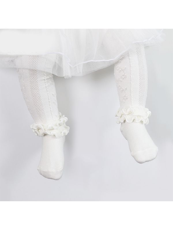 Soft White Ruffle Stockings