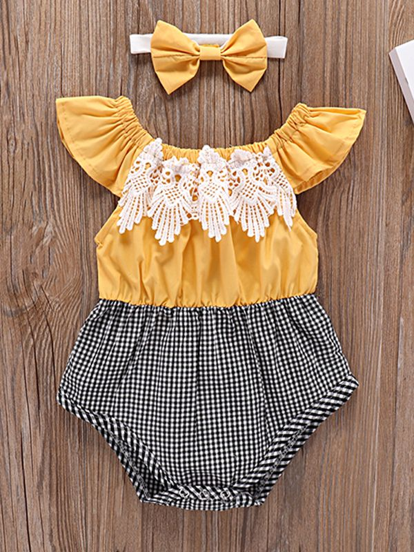 Farm Girl Lacy Romper with headband