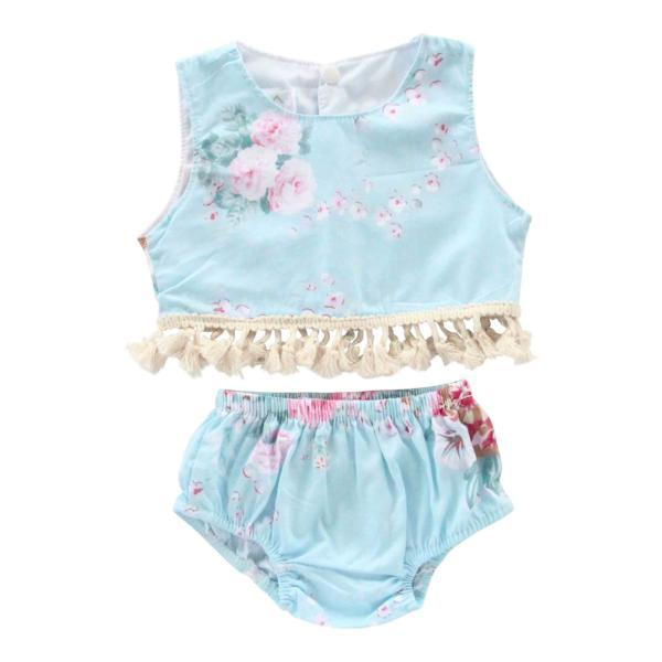 Blue Floral Fringe Crop Top Set