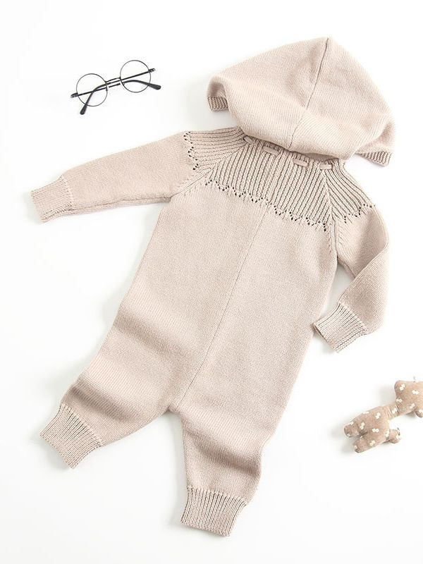 Grey Hooded Button-up Long Sleeve Romper