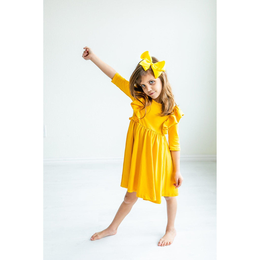 Mustard Ruffle Twirl Dress