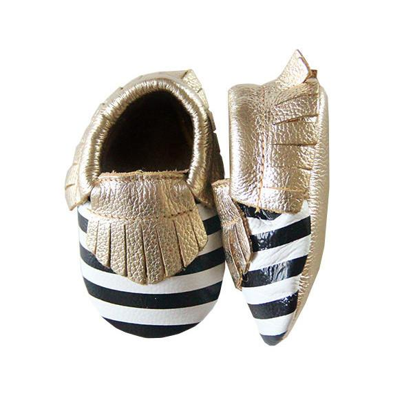 Gold, Black and White Stripe Leather Baby Moccasins