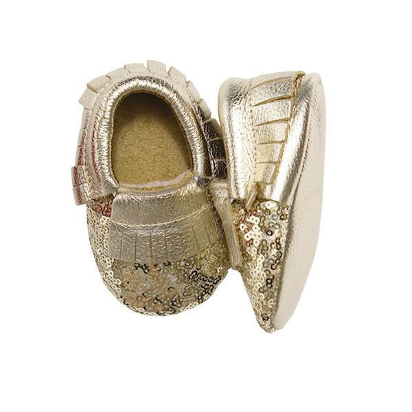 Gold Sequin Metallic Leather Baby Moccasins