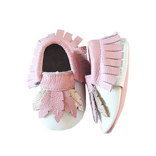 Feather Print Leather Baby Moccasins