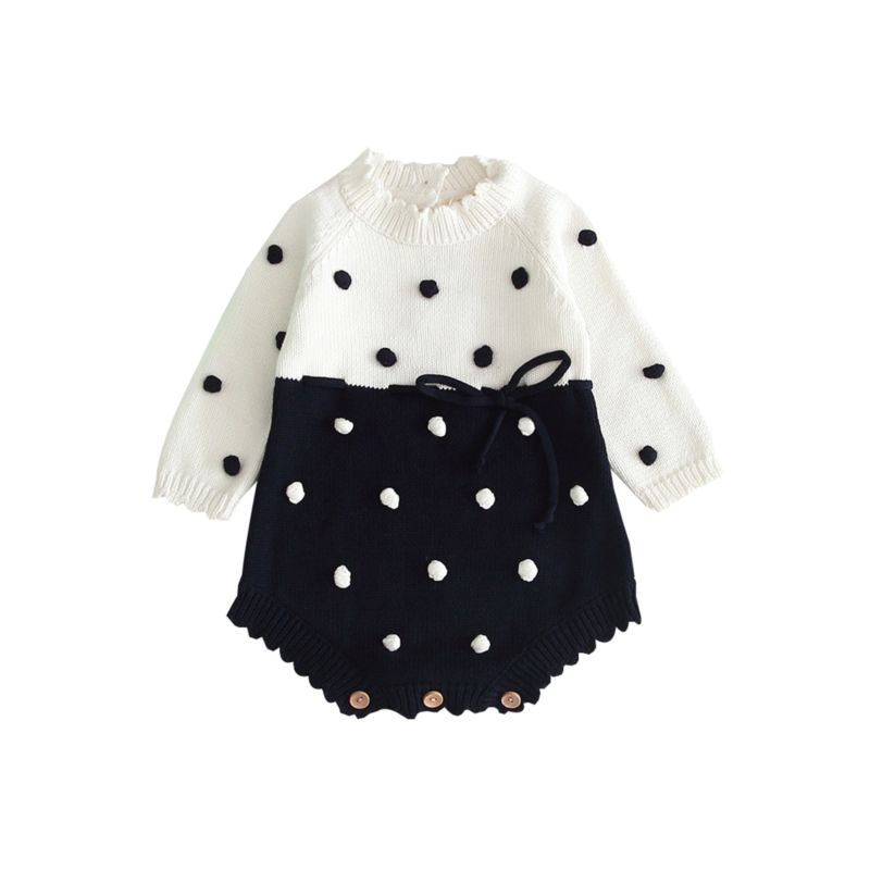 Navy Polka Dot Sweater Romper